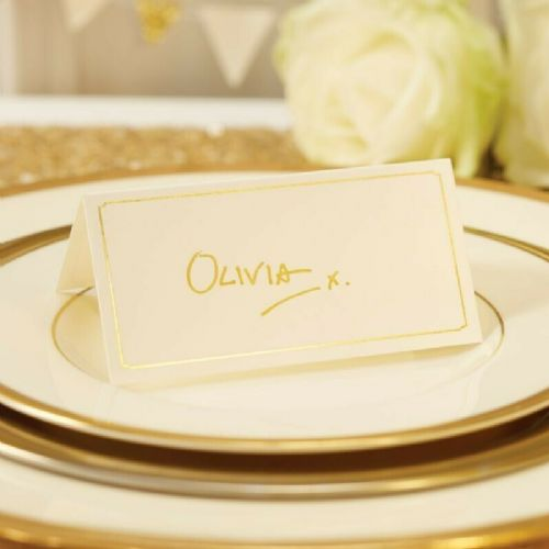 Ivory & Gold Foiled Place Cards 10pk